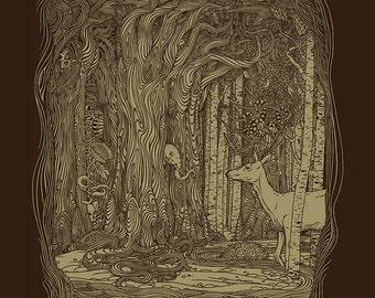 Tangled Forest Print 14 x 18 Fine Art Detailed Print, Forest Wall Art, Tree Art, Brown Wall Art
