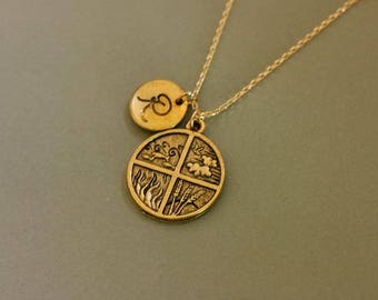 Small gold four seasons necklace : cute gift for nature lovers.