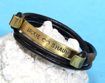 Custom Leather Wrap Bracelet with Stamped Names-Personalized wrap Bracelet-Personalized in Brass-Design your own bracelet