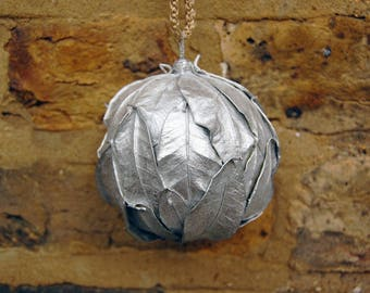 Christmas bauble, Sliver Christmas decorations, Rustic Christmas Decoration, Christmas tree decoration, Handmade Christmas ornament.