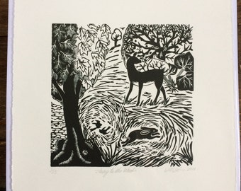Original Hand Printed Linocut - Away to the Woods (Black Edition)