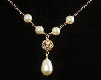 Wedding Necklace  -- Rhinestone Pearl Wedding Jewelry, Y Drop Necklace, Pearl Bridal Necklace, Swarovski Pearls and Gold -- PORTIA
