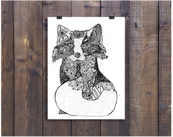 "Art Black and White Art Pen and Ink Fox Drawing Wall Art Signed 5"" x 7"" Print Home Decor Design Drawing"