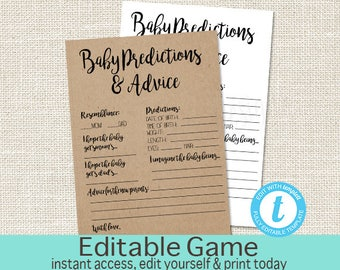 Printable Rustic Baby Shower Baby Predictions and advice, Printable Kraft Shower Games, Editable baby shower game, templett instant download