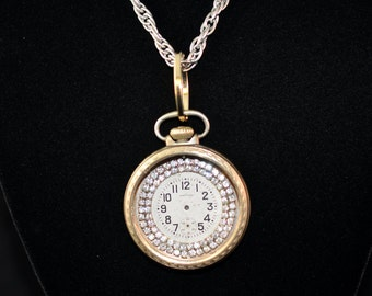 Cool Watch Necklace, Handmade One of a Kind, Antique Watch Case, Rhinestones, Antique Watch Face, #