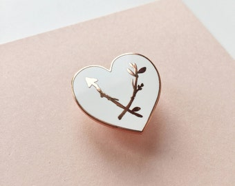 Heart Enamel Pin - Lapel Pin - Copper and White Love Heart Nature Lover - Mothers Day Gift - Jewellery for Mum