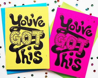 You've Got This Card, Just Becuase Card, Well Done Card, linocut Card, Encouragement and Support Card, Friendship Card, Hand Printed Card,