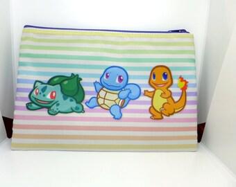 Pokemon First Generation Starters Zip Bag