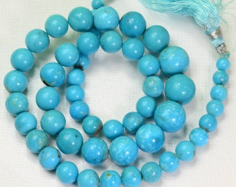 4.8MM to 10.8mm Sleeping Beauty Turquoise Smooth Round Beads 15.5 inch strand