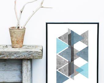Blue Geometric Art, Triangle Print, Geometric Poster, Abstract Art Print, Scandinavian Print,  Giclee print, Wall Art, Poster, Wall Decor