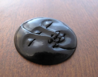 30 mm  Moon phase  Cabochon with Closed Eyes, Organic Cabochon, Buffalo horn carving, Embellishment, Jewelry making SUpplies B8006