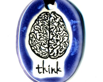 Brain with word Think Ceramic Necklace in Purple and Blue