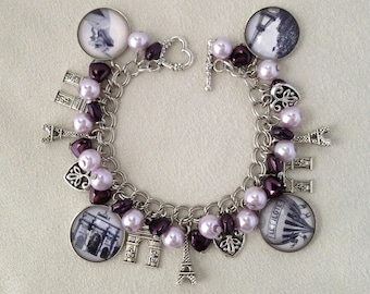 Paris Je T'aime/I Love Paris Valentine's Day Charm Bracelet with Czech Glass Pearls and Heart Beads
