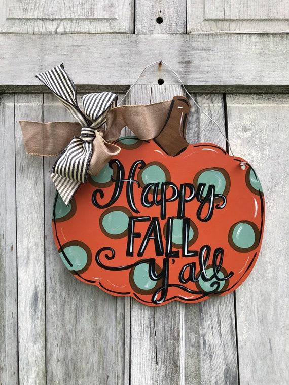 Orange and teal Pumpkin door hanger,  Autumn door hanger, pumpkin sign, Halloween Door hanger, Fall door hanger, fall farmhouse pumpkin