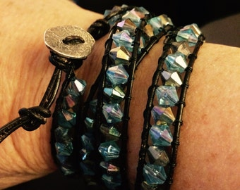 Crystal blue and brown leather wrap bracelet