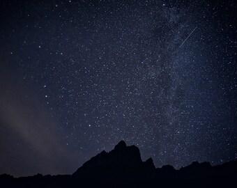 Shooting Star Photo,Night Sky Photography,Starlight,Milky Way Photo,Metal Prints,Nevada Night Photograph,Large Wall Art,Mountain Photography