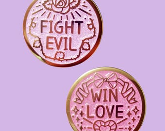 Fight Evil Win Love Enamel Pin Set or Singles