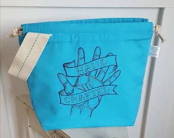 Turquoise 'Handcrafted' Drawstring Project Bag