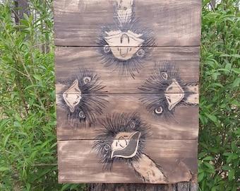 Hand Painted Barn Wood Emu Barnwood Emus