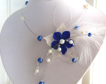 Wedding bridal necklace Pearl White (or ivory upon request) and blue feathers & silk flower
