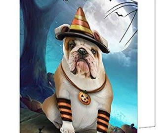 Happy Halloween Trick or Treat Bulldog Dog Candy Corn Set of 10 Greeting Cards