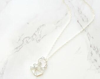 Origami koala collier, collier de koala géométrique, argent KOALA, petit koala, collier animaux, ours en collier, collier Origami, don de moins de 30 ans