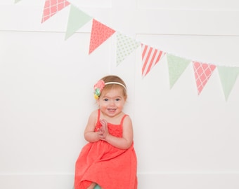 Fabric Banner, Coral, Mint Green Bunting, Garland Fabric Pennant Flags, Wedding Garland, Photo Prop, Baby Nursery , Wedding Garland, Shower