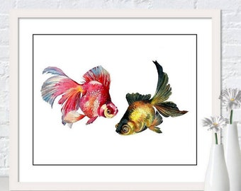 Goldfish Art Watercolor Goldfish Painting Fish Art Print Goldfish  Print Fish Print Fish