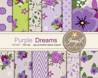 Purple Floral digital paper,  Shabby Violet Lilac lavender Wedding Flower for Digital scrapbooking, invitations, birthday, wedding, Planners