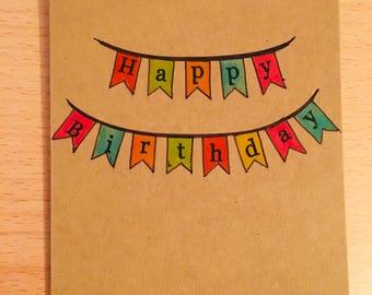 Happy Birthday Bunting - Card