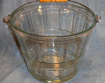 Anchor Hocking Glass Pail Ice Bucket Wood Handle