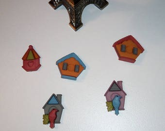 Birdhouse House Themed Needle Minder - Blue, Red, Plum, Green
