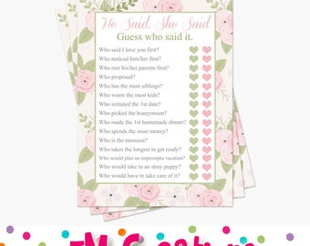 He Said She Said Bridal Shower Game - Floral Bridal Shower Game - Printable Bridal Shower Game - Instant Download - Pink Mint Wedding