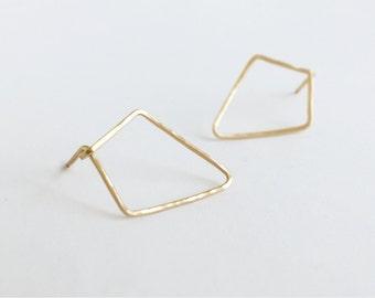 Kya (earrings) - 14k Gold Filled geometric, diamond shape stud, open geo earrings