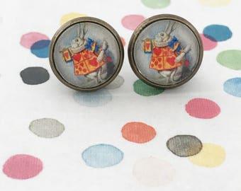 Alice in Wonderland Earrings, White Rabbit Earrings, White Rabbit, Alice, Wonderland, Earrings, Bunny Earrings, Wonderland Earrings, Studs