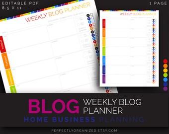 Blog Planner, Weekly Blog Planner, Blogging, Mom Blogger    Editable Printable Planner DIY Rainbow Organizer    Household PDF Printables