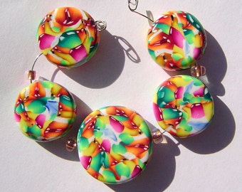 Flutter Artisan Polymer Clay Bead Set with Focal and 4 Beads