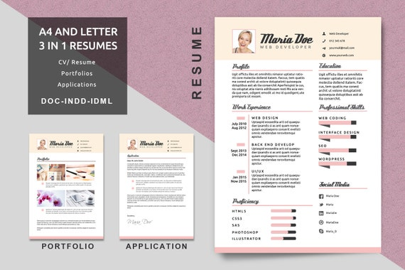 A4/Letter Resume Templates Modern Resume CV Template