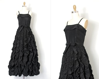 vintage 1940s gown / long black formal 40s dress  (extra small xs)