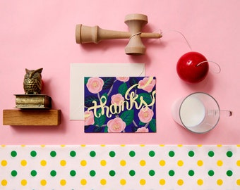 Pink Camellia thank you card - thanks