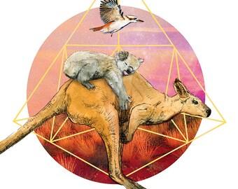 Going Home | A4 print | Alykat Creative Aussie series | Kangaroo Koala kookaburra