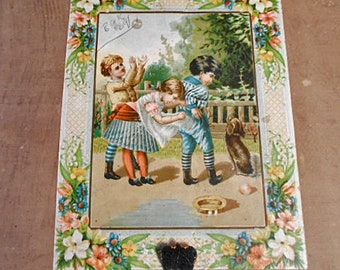 VICTORIAN CHILDREN LITHO Print on Cardboard Trunk Insert, Kids at Play Puppy Picket Fence Flower & Leaves Borders 14 x 21 Antique 1890s