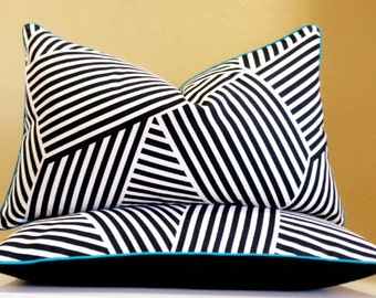 Black And White Lumbar Pillow Cover Set -  other sizes available