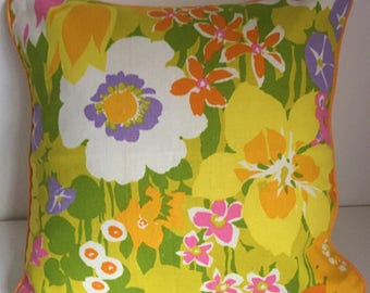 Vintage Fabric Bright Floral Cushion Cover