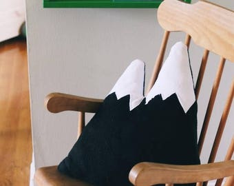 Mountain Pillow, black and white pillow, Mountain plushy, Stuffed mountain, adventure pillow, monochrome pillow, mountain, decorative pillow