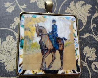 Sidesaddle Equestrian Horseback Pendant Elegant Simplicity