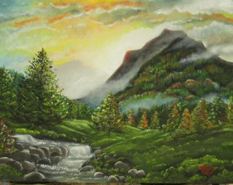 Original oil painting. Autumn mountain stream.