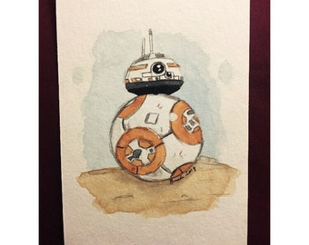 BB-8 hand painted postcard