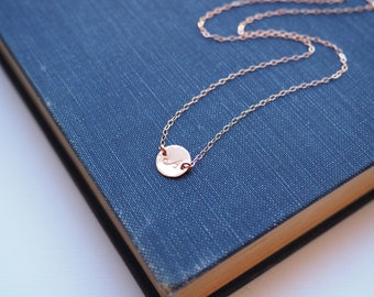 Dainty Initial Necklace, Rose Gold Initial Necklace, Available in Sterling Silver, Gold Filled and Rose Gold Filled