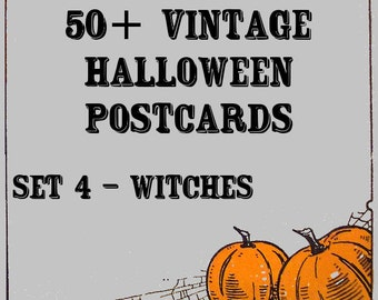 Vintage Halloween Postcards - Set 4 - Witches - Instant download
